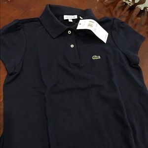 NWT Lacoste Polo Kids Girls 10 Shirt Navy Blue 10y